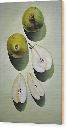 Green Pears - Pastel Wood Print