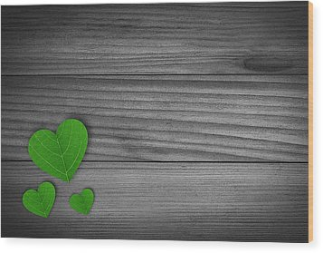 Green Pedal Shaped Hearts Wood Print by Aged Pixel