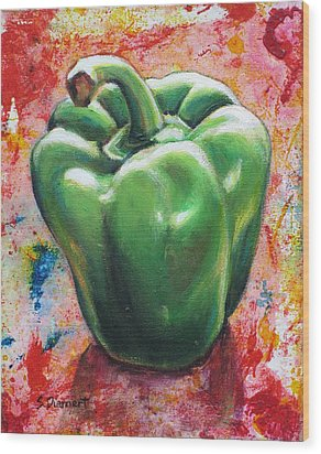 Green Pepper Wood Print by Sheila Diemert