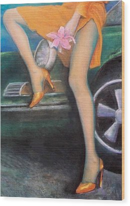 Wood Print featuring the pastel Green Porsche by Mary Ann  Leitch