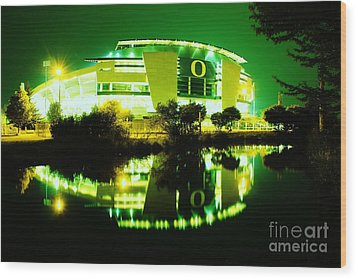 Green Power- Autzen At Night Wood Print