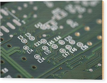 Green Printed Circuit Board Closeup Wood Print by Matthias Hauser