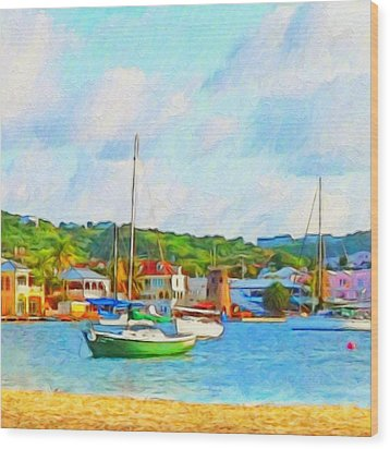 Green Sailboat On Mooring - Square Wood Print
