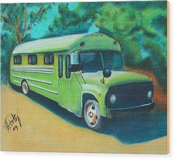 Green School Bus Wood Print