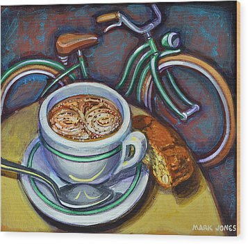 Wood Print featuring the painting Green Schwinn Bicycle With Cappuccino And Biscotti. by Mark Howard Jones