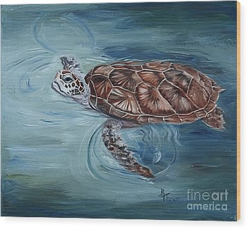 Green Sea Turtle Wood Print