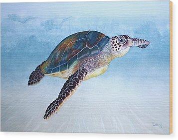 Green Sea Turtle II Wood Print by Jeff Lucas