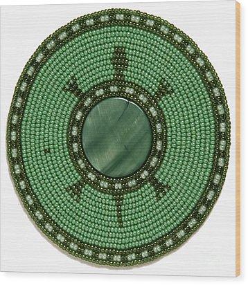 Green Shell Turtle Wood Print