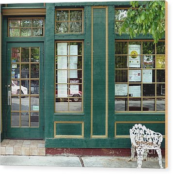 Wood Print featuring the photograph Green Shop Door by Sally Simon