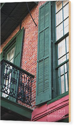 Green Shutters In The Quarter Wood Print by John Rizzuto