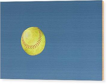 Green Softball Wood Print