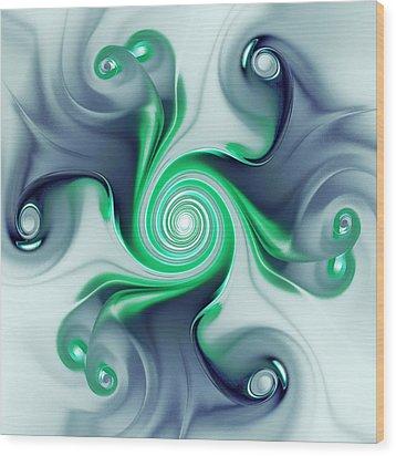 Green Swirls Wood Print by Anastasiya Malakhova