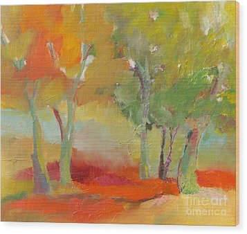 Wood Print featuring the painting Green Trees by Michelle Abrams