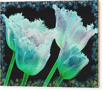 Green Tulip Glow Wood Print by Debra  Miller