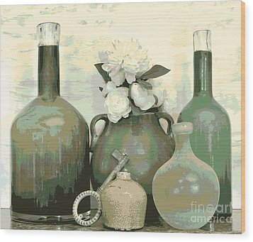 Green Vases Still Life Wood Print