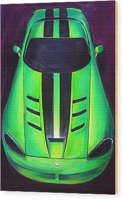 Wood Print featuring the painting Green Viper by Sheri  Chakamian