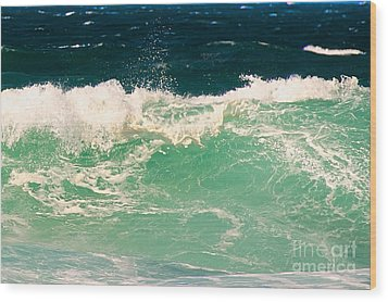 Green Wave Pacific Grove Ca  Wood Print by Artist and Photographer Laura Wrede