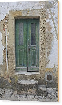 Green Wood Door With Hand Carved Stone In The Medieval Village Of Obidos Wood Print by David Letts
