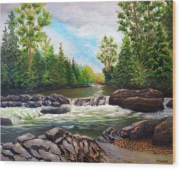 Greenbrier Cascades Wood Print by Joan Swanson