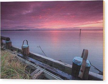 Greenbury Point Sunrise Wood Print by Jennifer Casey