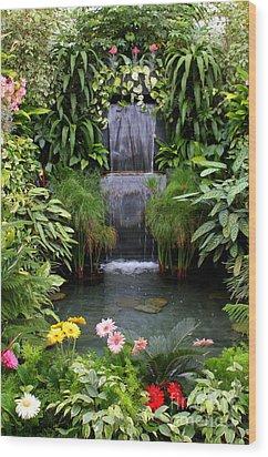 Greenhouse Garden Waterfall Wood Print by Carol Groenen