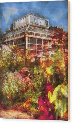 Greenhouse - The Greenhouse And The Garden Wood Print by Mike Savad