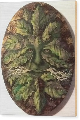 Wood Print featuring the painting Greenman by Megan Walsh