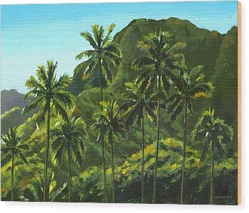 Greens Of Kahana Wood Print by Douglas Simonson