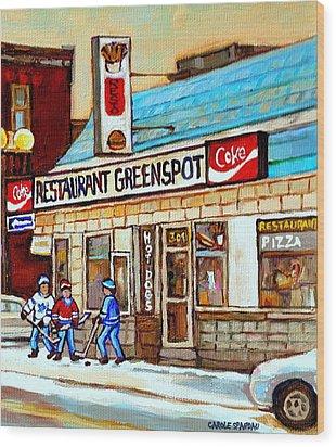 Greenspot Restaurant Notre Dame Street  South West Montreal Paintings Winter Hockey Scenes St. Henri Wood Print by Carole Spandau