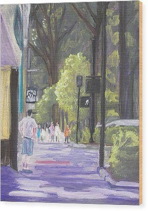Wood Print featuring the pastel Greenville Street Scene by Robert Decker