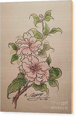 Wood Print featuring the drawing Greeting Flower by Rose Wang