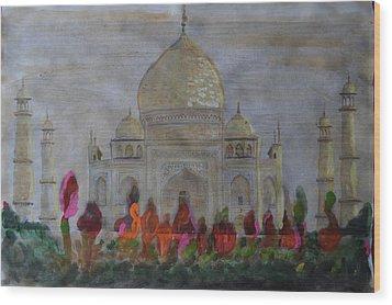 Greeting From The Taj Wood Print