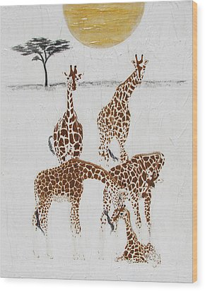 Wood Print featuring the painting Greeting The New Arrival by Stephanie Grant