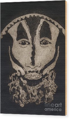 Wood Print featuring the painting Greetings From New Guinea - Mask - Tribesmen - Tribesman - Tribal - Jefe - Chef De Tribu by Urft Valley Art