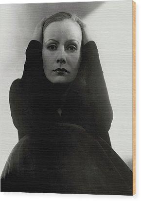 Greta Garbo Wearing A Black Dress Wood Print by Edward Steichen