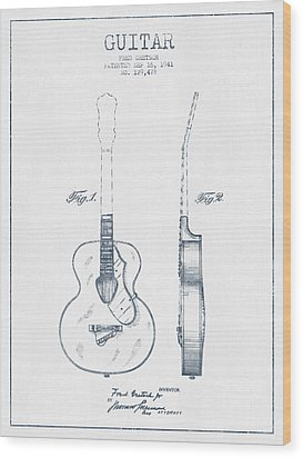 Gretsch Guitar Patent Drawing From 1941 - Blue Ink Wood Print by Aged Pixel