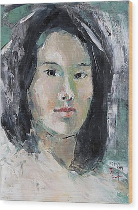 Grey Hair -self Portait Under Natural Window Light Wood Print by Becky Kim