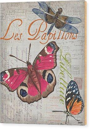 Grey Postcard Butterflies 1 Wood Print by Debbie DeWitt