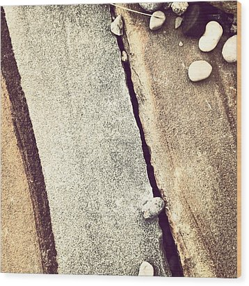 Grey Stone Abstract Wood Print by Christy Beckwith