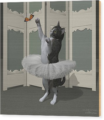 Grey Tabby Ballet Cat On Paw-te Wood Print by Andre Price