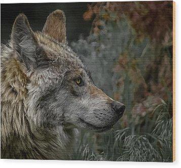 Grey Wolf Profile 3 Wood Print by Ernie Echols