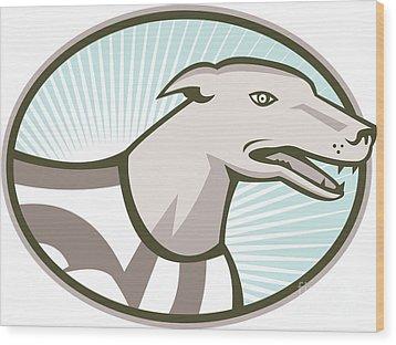 Greyhound Dog Head Retro Wood Print by Aloysius Patrimonio
