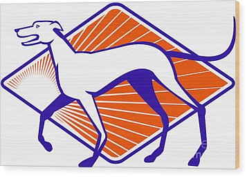 Greyhound Dog Walking Side Retro Wood Print by Aloysius Patrimonio