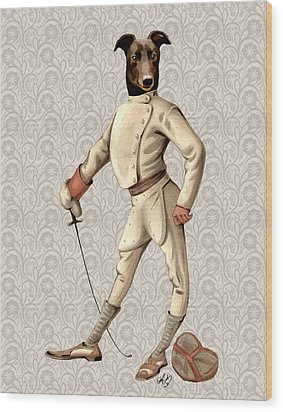 Greyhound Fencer Full White Wood Print by Kelly McLaughlan