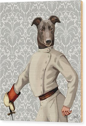Greyhound Fencer White Portrait Wood Print by Kelly McLaughlan