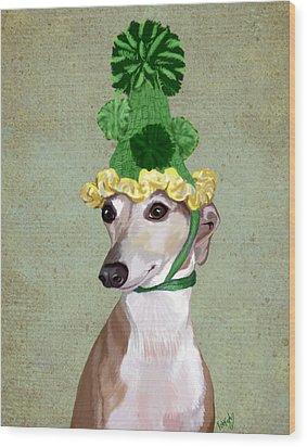 Greyhound Green Bobble Hat Wood Print by Kelly McLaughlan