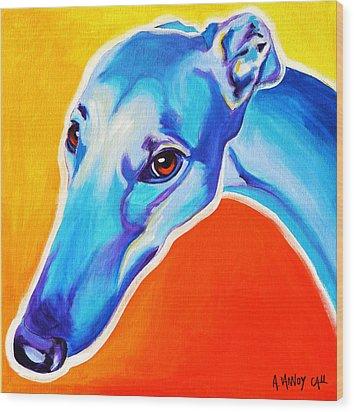 Greyhound - Lizzie Wood Print by Alicia VanNoy Call