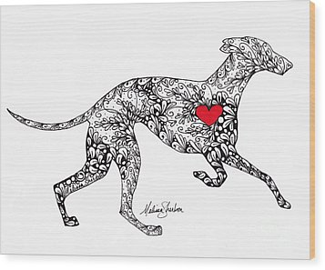 Wood Print featuring the drawing Greyhound by Melissa Sherbon