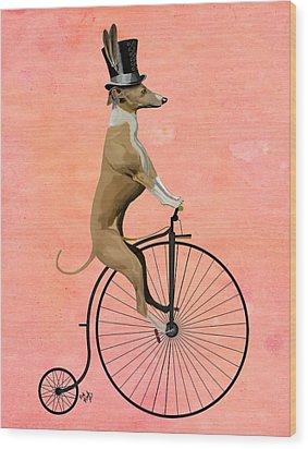 Greyhound Pennyfarthing Black Wood Print by Kelly McLaughlan