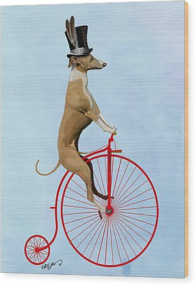 Greyhound Pennyfarthing Red Wood Print by Kelly McLaughlan